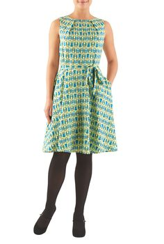 "eShakti Women's Owl print pleat neck dress 4X-28W Short Lime yellow/blue. Back metal zip closure, Sleeveless, Inner shoulder bra strap keeps, Seamed waist, Removable sash tie belt, Full flare skirt, Side seam pockets, Knee length, Rayon, woven, soft feel, no stretch, lighter midweight, Dry clean, Model is wearing our size S/6, cut for her height of 5'8"". Comes in Petites, Misses and Plus sizes for all heights. Made-to-order, available in sizes 0-36W and three height options - Short (if…"