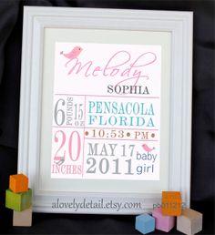 Cute.(http://www.etsy.com/listing/90351078/holiday-sale-baby-print-custom-birth)