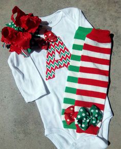 Baby Girl Christmas Outfit Personalized by LilBeanBabyBoutique, $42.99