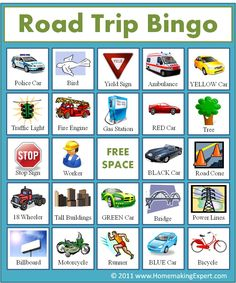 Free: Printable travel bingo cards for kids