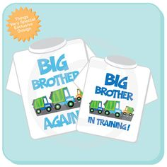 super cute again for anyone wanting to announce a third baby on the way!     Personalized Set of 2 Big Brother Again by ThingsVerySpecial, $28.99