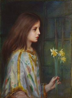 A Young Girl Holding Daffodils by Laura Muntz Lyall