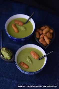 Panfusine: Blending with OXO - A recipe for 'Nimona' - Green Pea soup with pan fried gnocchi and Cilantro Pesto.