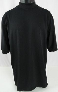 FootJoy Mens M Shirt Golf Wicking  Mockneck Pullover Polyester SS Black/White…