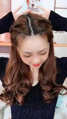 Hairstyle for Medium Hair#hair #hairstyle #medium Front Hair Styles, Medium Hair Styles, Curly Hair Styles, Hair Medium, Hair Headband Styles, Easy Hairstyles Tutorials, Medium Hair Updo Easy, Hair Tutorials For Medium Hair, Easy Hair Up