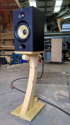 These are my own design of load speaker stand I have had on my brain for a few years now. And now here they are in They are hollow to hide speaker Cable's. Top and bottom are true wedged mortise and tenon joinery. Small Speakers, Diy Speakers, Bookshelf Speakers, Built In Speakers, Hide Cables, Monitor Stand, Speaker Stands, Speaker Design, Electronics Projects