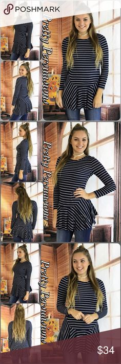 """SALE🎉NWT Navy Gray Striped Ruffle Hem Tunic Top NWT Navy & Gray Striped Ruffle Hem Flirty Tunic Top  Available in S, M, L Measurements taken from a small  Length: 32"""" Bust: 34"""" Waist: 34""""  Poly/Spandex  Features  • flirty ruffle hem • soft, breathable material w/stretch • navy & gray stripes • pull over design  Bundle discounts available  No pp or trades  Item # 1/101180270NGST striped ruffle tunic top long sleeve Pretty Persuasions Tops"""