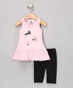 Take a look at this Pink & Black Heart Butterfly Tunic & Shorts - Infant & Toddler by Girlfriends by Anita G. on #zulily today!