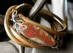 Leather Wrap Bracelet with Dryhead Agate Cab | I'm mixing le… | Flickr