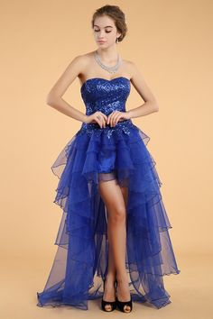 2014 Sweetheart A Line Prom Dress Sequin Bodice With High Low Organza Skirt #51313