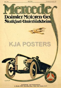 Mercedes Daimler Motoren Poster 1918 RP