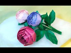Origami rose (modular). Easy paper rose! Ideas for birthday party decoration. - YouTube