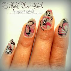 Style Those Nails: Butterfly Nailart on Water Marble Nails #butterflynails #watermarblenails