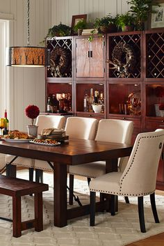 Traditional meets subtle rustic for casual or formal dining ...