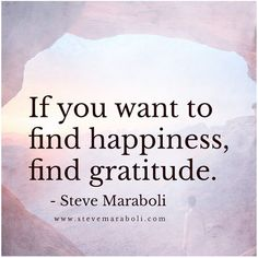 If you want to find happiness, find gratitude. - Steve Maraboli