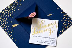 Navy + Gold Foil Calligraphy Wedding Invitations