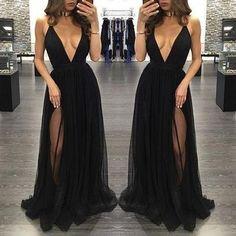 black Evening Dress,v-neck Prom Dress,long prom dress, sexy prom dress,tulle evening dress,PD0024