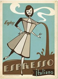 This Espresso Italiano Sticker features a retro espresso pot lady pouring a double shot of vintage coffee ad style to stick on your notebook or laptop. Vintage Italian Posters, Pub Vintage, Poster Vintage, Vintage Coffee, Retro Posters, Kunst Poster, Poster S, Print Poster, Bar Kunst