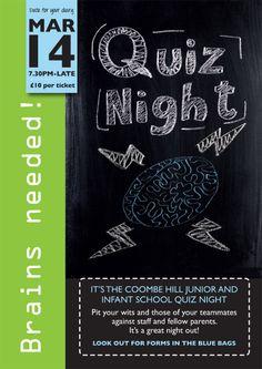 School Quiz NIght poster.