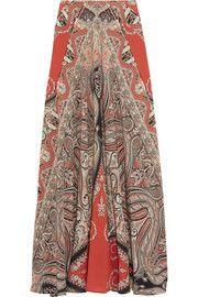 Printed silk crepe de chine maxi skirt