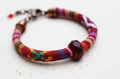 Red Bead Bracelet Beaded Jewelry Woven by LittleBitsOFaith on Etsy