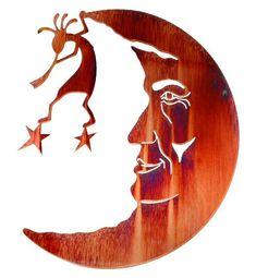 Kokopelli in the Moon Metal Wall Art by Neil Rose – Schnitzerei Metal Tree Wall Art, Metal Wall Sculpture, Scrap Metal Art, Wall Sculptures, Native Art, Native American Art, Custom Metal Art, Southwest Art, Southwest Style