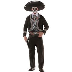"""The perfect idea for your Day of the Dead celebration! Cropped jacket, screen printed vest, pants, faux shirt front, sash. One size fits most adults with waist size 34""""-38"""" and chest size 42""""-46"""". Box"""
