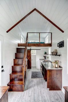 Beautiful view of Rodanthe, a 24 ft. tiny house on wheels by Modern Tiny Living Beautiful view of Rodanthe, a 24 ft. tiny house on wheels by Modern Tiny Living Best Tiny House, Tiny House Plans, Tiny House On Wheels, Inside Tiny Houses, House Plan With Loft, Shed To Tiny House, Tiny House Cabin, Cute House, House Built