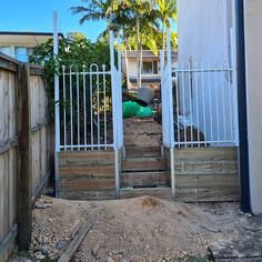 Progress shots of our latest job in Tugan.  Re-using some old hoop and spike fence on top of our retaining wall and stair case. New flat top aluminum fencing for the front boundary. Still some aesthetics to come but over all coming up a treat. Stay tuned.... Stair Case, Fencing, Stay Tuned, Hoop, Aesthetics, Stairs, Outdoor Structures, Flat, Projects