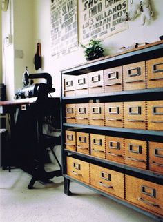 old library card catalog drawers to store craft siupplies