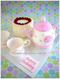 Make this teapot cake for any celebration.  Instructions on how to make a teapot cake included.