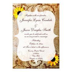 Rustic Shabby Sunflowers Swirls Wedding Invitation