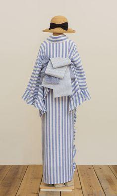 フリル着物(リネン・ボールドストライプ) | 着物、浴衣 さく研究所