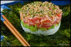 "Kahakai Kitchen: Spicy Ahi Tuna & Avocado Tower: ""Reconstructed"" Sushi for Food 'n Flix: Jiro Dreams of Sushi"
