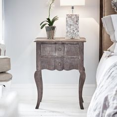 Amelie Bedside Table - Natural Double Drawer