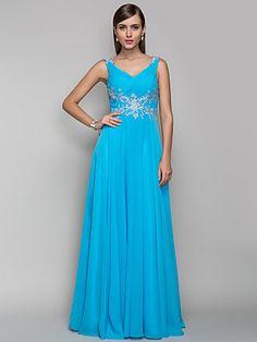 Sheath/Column V-neck Floor-length Chiffon Evening/Prom Dress (605486) | LightInTheBox