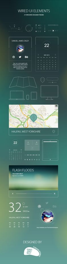 Wired UI Elements by Samuel James Oxley, via Behance - Design Design Ios, Mobile Ui Design, Dashboard Design, Wireframe, Apps, Ui Design Inspiration, Ui Elements, Ui Web, Screen Design