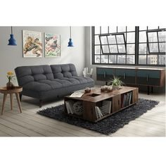 Introduce versatility, outstanding performance and a classic sofa-style appearance into your living room, den, study or guest bedroom with this Avenue Greene Patterson premium futon. Attractive, but rugged and tough, the charcoal grey linen fabric resists stains and tears while tufted detailing adds visual interest to the futon's contemporary style.