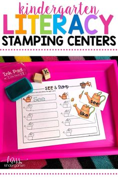 Make the most of your time management by grabbing these printable literacy centers! These centers are a great addition to your spring literacy rotations! Students can practice sight words with these hands-on stamping activities! #play #literacy
