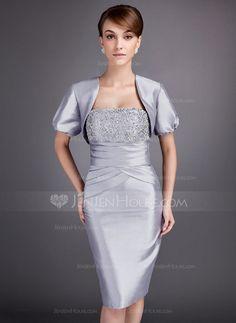 Mother of the Bride Dresses - $97.49 - Sheath Strapless Knee-Length Taffeta Mother of the Bride Dress With Ruffle Lace Beading (008005750) http://jenjenhouse.com/Sheath-Strapless-Knee-Length-Taffeta-Mother-Of-The-Bride-Dress-With-Ruffle-Lace-Beading-008005750-g5750?pos=best_selling_items_2