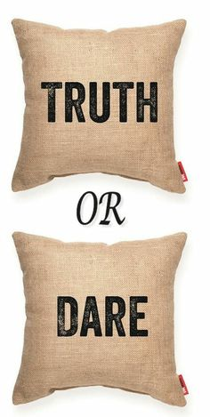 Truth/Dare Burlap Throw Pillow #Decorative #Accent #Burlap