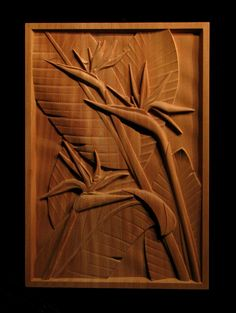 Carved bird of paradise panel