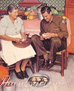 Thanksgiving Mother and Son Peeling Potatoes by Norman Rockwell #art