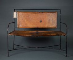 Genuine Leather and cast iron bench by SpikeRiver on Etsy,