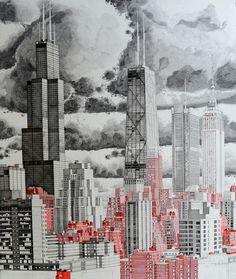 Машина счастья - огромный нарисованный мегаполис, наполенный жизнью / Mark Lascelles Thornton (11)