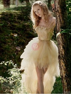 Custom 2016 Fairy bridal gowns Strapless Champane Gold Color High Low Wedding Dresses for Bridal Wedding Gown With Wide Sash