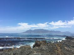 Table Mountain from Robben Island Boulder Beach, Table Mountain, Bouldering, South Africa, Island, Mountains, Water, Travel, Outdoor