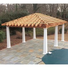 Hot Tub Pergola, Gazebo Plans, Gazebo Pergola, Outdoor Gazebos, Porch Column Wraps, House Arch Design, Backyard Pavilion, Backyard Patio, Covered Patio Design