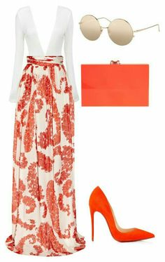 A fashion look from October 2015 featuring floral maxi skirts, orange shoes and red clutches. Browse and shop related looks. Komplette Outfits, Dressy Outfits, Stylish Outfits, Fashion Outfits, Womens Fashion, Elegantes Business Outfit, Outfit Elegantes, Looks Chic, Looks Style