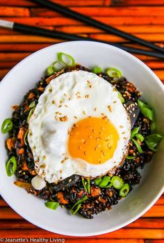 Kimchi Fried Forbidden Rice with Black Garlic Recipe - Jeanette's Healthy Living Healthy Salmon Recipes, Garlic Recipes, Rice Recipes, Shrimp Recipes, Asian Recipes, Vegetarian Recipes, Chinese Shrimp Fried Rice, Fried Rice Dishes, Breakfast Around The World